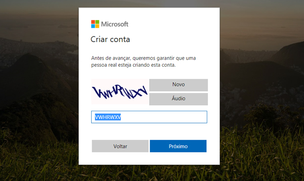 outlook nova conta entrar