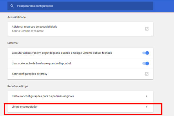 chrome limpe o pc