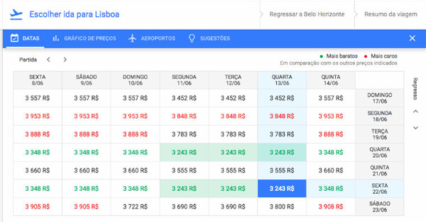 datas flexíveis google flights