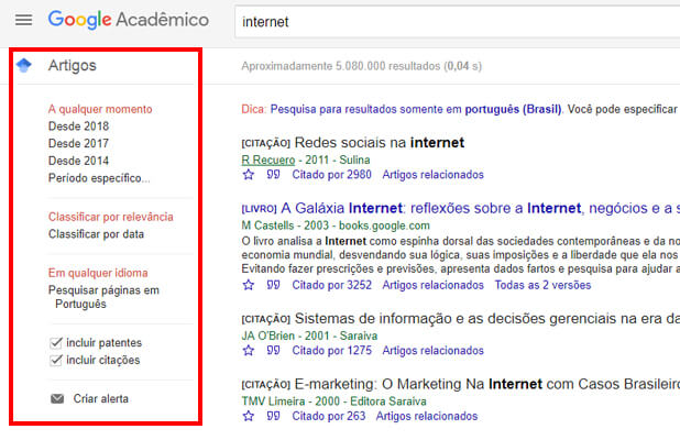 filtrar pesquisa google academico