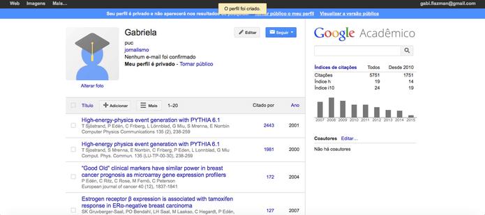 Google Acadêmico Perfil