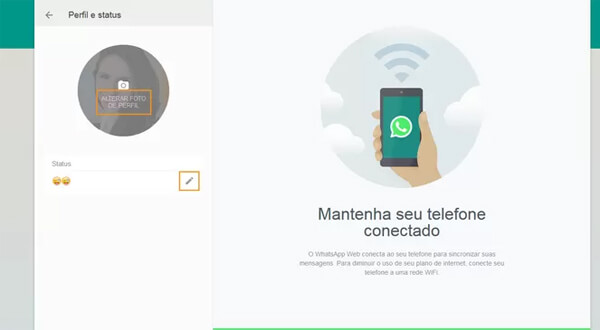 perfil no whatsapp web