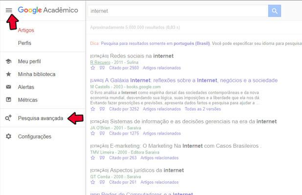 Google Acadêmico Pesquisa Avançada