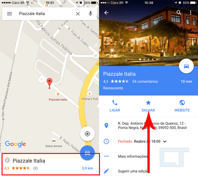 salvar endereco google maps
