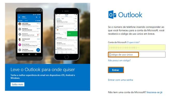 Outlook entrar sem senha - Passo 8