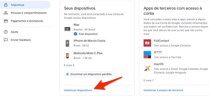 Gerenciar dispositivos conectados no Gmail