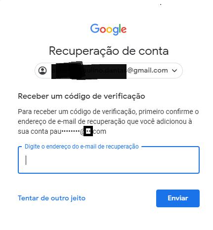 Recuperação do Gmail com e-mail alternativo