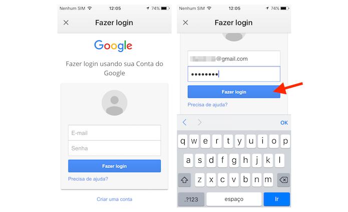 Fazer Gmail Login no celular