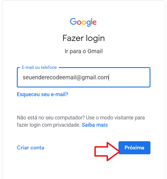 Gmail Login no computador