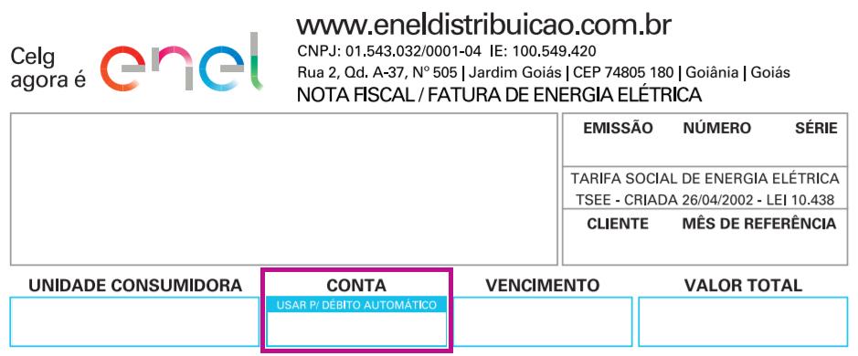 Débito automático Enel