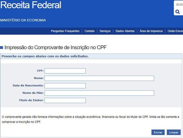 Como emitir comprovante de CPF na Receita Federal